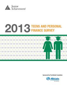 2013 teens and personal fin survey cover