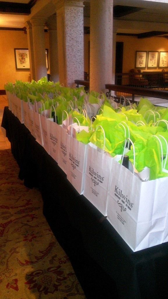 Golfers received gift bags filled with wine and Kilwin's Chocolates as they left.