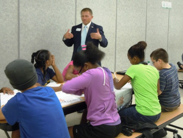 Bobby Siddell, Financial Professional Associate, Prudential, demonstrated his expertise by answering career questions for middle school students.