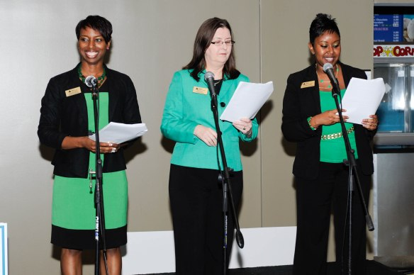 JA Program Staff Teresa Smith, Rita Story, and Tia Leathers present the Volunteer Awards.