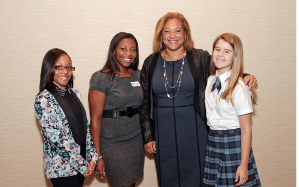 Keynote speaker Christina Norman with emcees Geornisha Webb, Janae Byrd, and Lily Paternoster.
