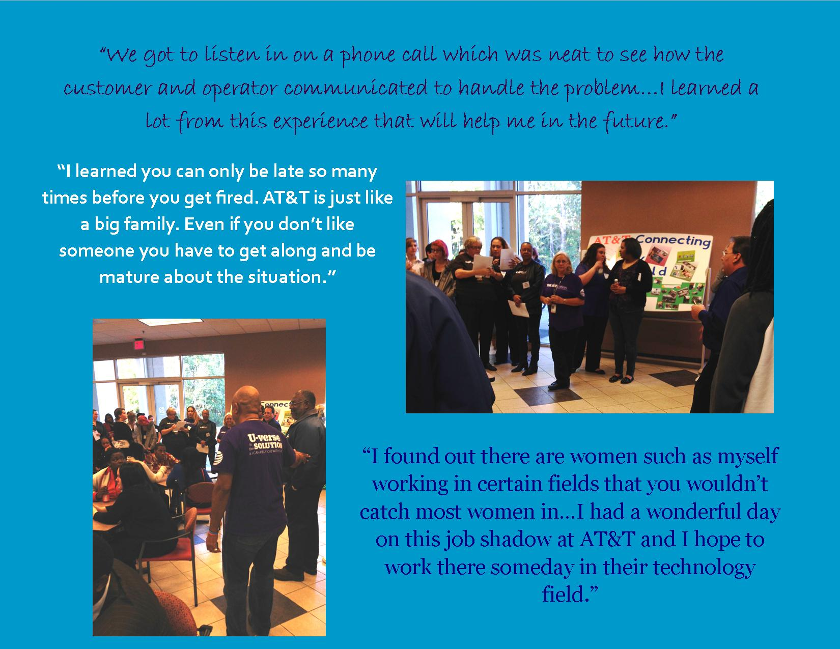 job shadow junior achievement of north florida excerpts from participant letters about their experience at at t