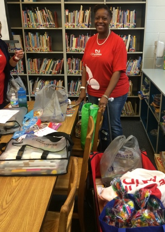 Volunteer Angie Crowley went the extra mile and made goodie bags for her 3rd grade students she's teaching.