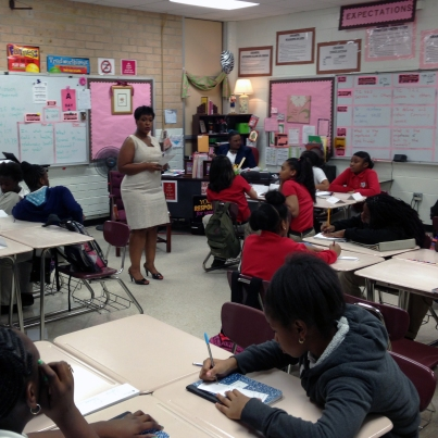 "Angela Spears teaching ""JA It's My Future"" to 6th grade at Eugene J. Butler Middle School."