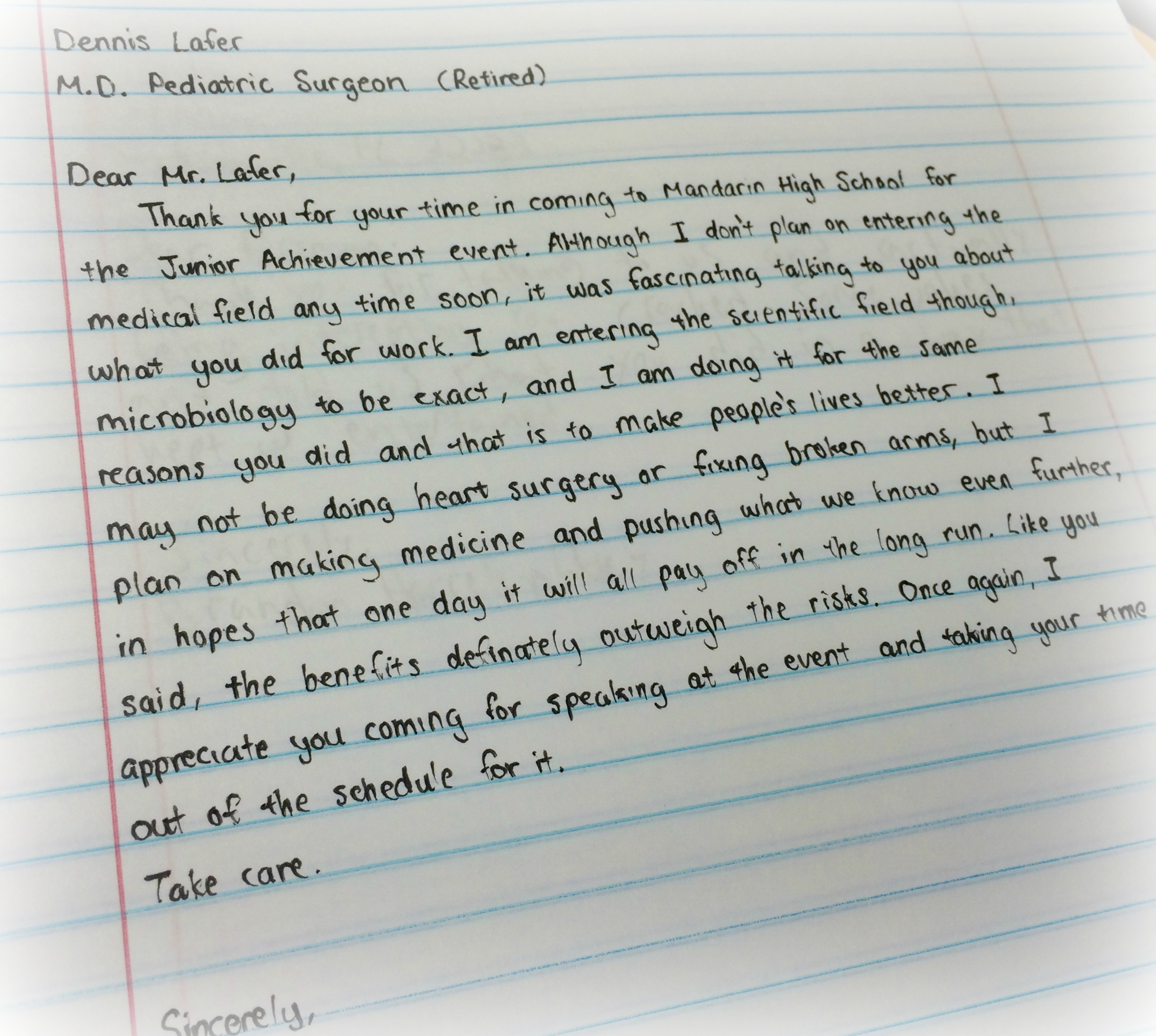 Thoughtful Student Thank You Note Junior Achievement Of North Florida
