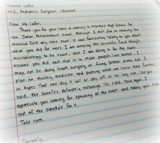 MHS student thank you letter