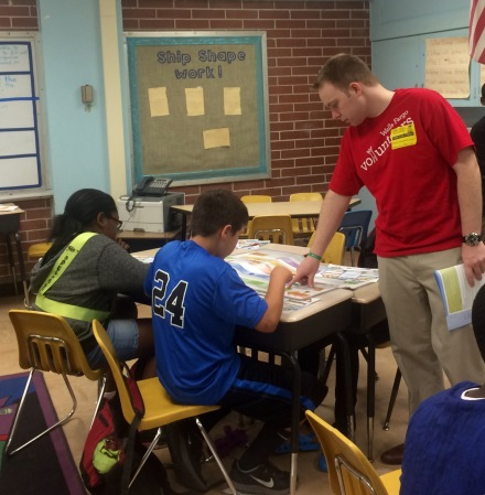 Chad Clark helped students understand supply chains in the 4th grade program, JA Our Region.