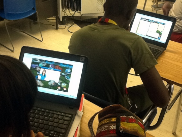 Students navigate their way through the virtual Park, complete with their own avatar they design themselves.