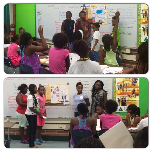 Wayman Community Development Corporation camp Team Up became entrepreneurs for the day and presented their business plans to fellow students.